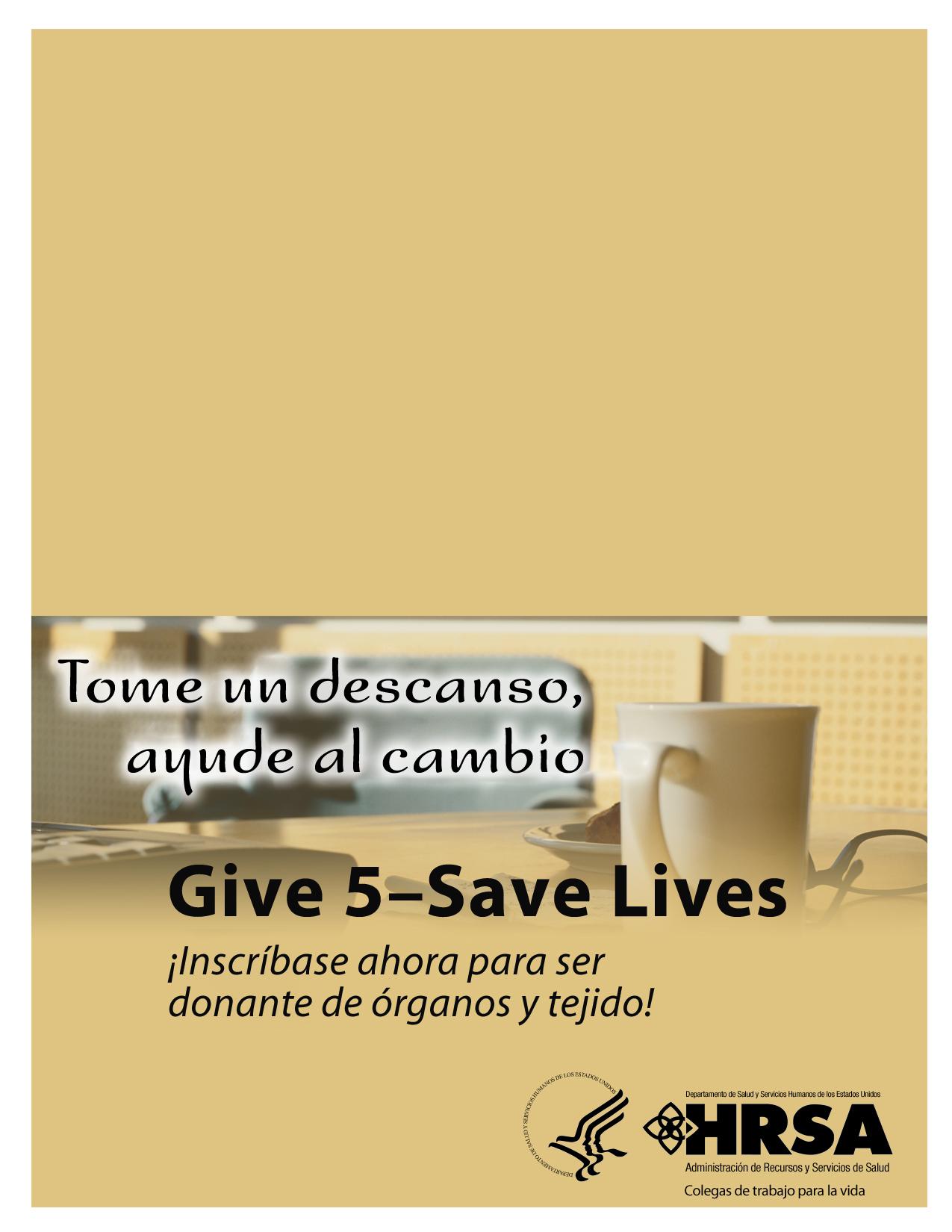 Imagen Give 5 para folleto díptico de mesa. 1275 píxeles de ancho por 1650 píxeles de alto.
