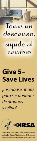 Imagen de Give 5 para anuncio vertical para web. 160 píxeles de ancho por 600 píxeles de alto.